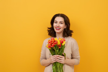 woman with yellow flowers
