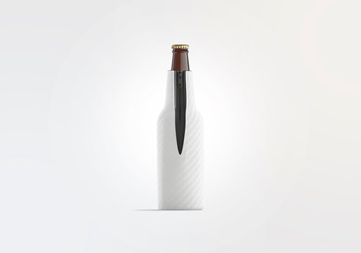Blank white collapsible beer bottle koozie mock up, front view