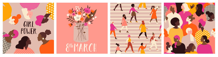 Collection of greeting card or postcard templates with flower bouquet in vase, floral wreath, feminism activists and Happy Womens Day wish. Modern festive vector illustration for 8 March celebration.