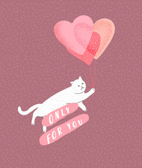 Special delivery. Cute cats in love. Romantic Valentines Day greeting card or poster. Kitten fly on balloon. Flyers, invitation, brochure. Vector design concept