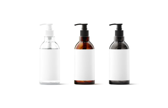 Blank transparent, amber, black glass bottle with white label mockup