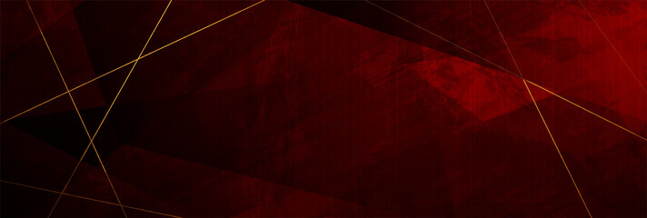 Fotobehang - Red grunge corporate abstract background with golden lines. Vector design