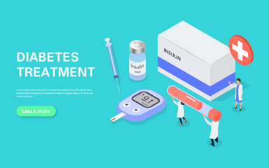 Diabetes treatment banner concept. Measuring blood sugar with a glucometer. Tiny people carry a test tube of blood for analysis. Wall mural