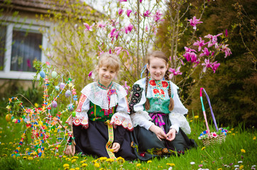 Easter traditional folk costumes in Slovakia, Europe