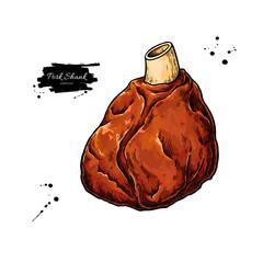 Pork shank vector drawing. Pig leg meat hand drawn sketch. Food illustration