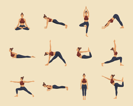 Set of yoga asanas. Young woman demonstrating various yoga or pilates positions isolated on light background. Concept health lifestyle. Sports female character.