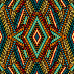 Fototapeten Boho-Stil Geometrical patchwork background with ethnic motifs