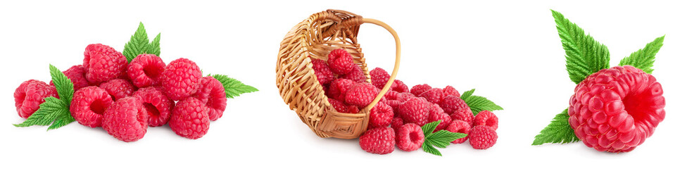 Ripe raspberries with leaf isolated on a white background, Set or collection Wall mural