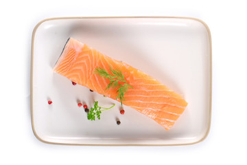 salmon fillet fork isolated on white background