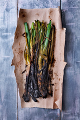 calcots, sweet onions typical of Catalonia, Spain