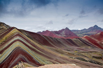Poster hiking true the beautiful and surreal rainbow mountain range of Cusco