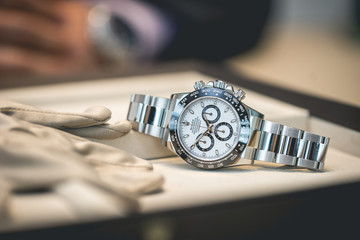 Luxury Rolex watch being presented by the seller