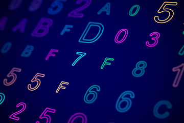 Hexadecimal code on digital computer screen. Abstract visualization of software development or data stream on network. Information technology or big data analysis background. Vector illustration.