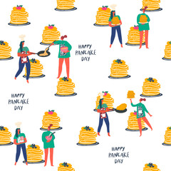 Stylized girls with making pancakes. Stacks of ready-made pancakes. Hand drawn people and text: happy pancake day. Vector element of seamless pattern