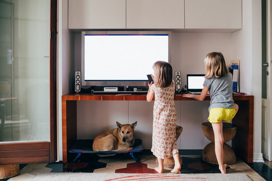 Two female children watching too close television and computer