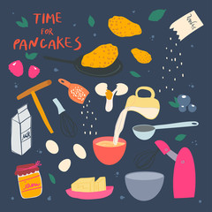 Pancakes making process. Ingredients and cookware crockery. Vector flat illustration