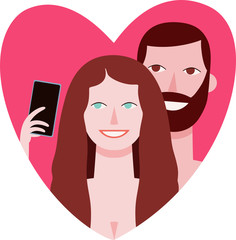 Vector portrait of happy young couple taking selfie placed in a valentine heart