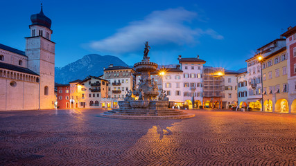 Trento, Italy. Cityscape image of historical city of Trento, Trentino, Italy during twilight blue hour.