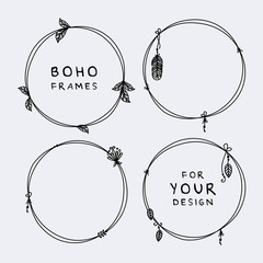 Photo sur Aluminium Style Boho Beautiful set of boho, tribal round frames vector