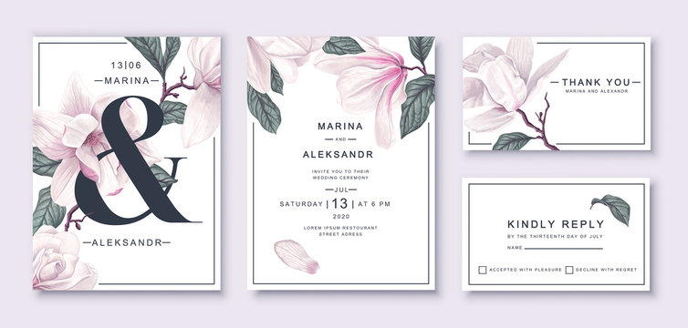 .Botanical wedding invitation card template design, white magnolia flowers and leaves. Template design with highly detailed, vector, realistic, spring flowers. Collection of Save the Date and RSVP.
