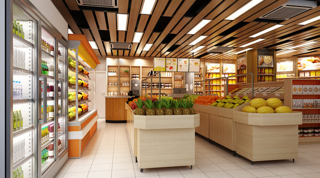 3d render of supermarket grocery shop