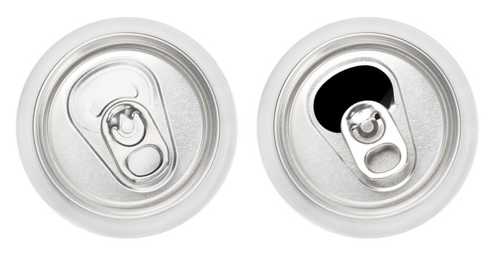Top view of closed and opened aluminium cans, isolated on white background