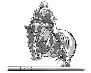 Show jumping man and horse while jumping over an obstacle