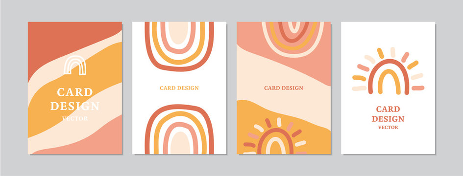 Abstract cards set with hand drawn rainbows. Doodles and sketches vector retro illustrations, DIN A6