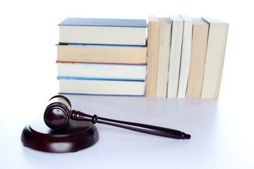 symbolic gavel and law book