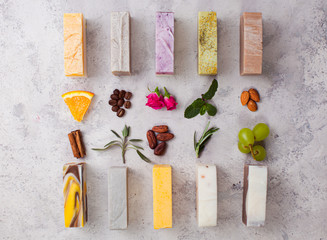 Organic handcrafted soap with its main components Wall mural