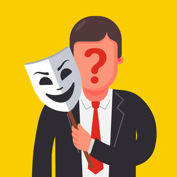 a person hides his identity under a mask. mysterious man. Flat character vector illustration.