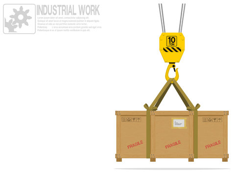 A wooden crate is hanged on the hook