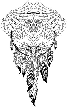 flying owl in the circle of native Indians dreamcatcher. Black and white outline tattoo. Vector illustration