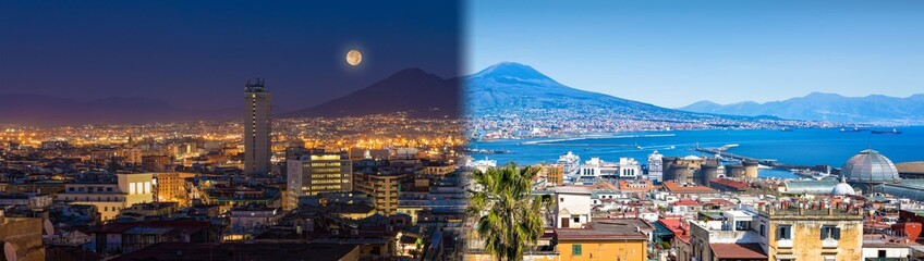 Garden Poster Napels Panoramic collage with Mount Vesuvius, Naples and Bay of Naples, Italy. Opposites in nature: day and night, light and darkness.