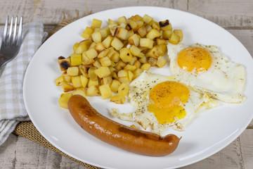 saucisse, pommes de terre et oeuf au plat