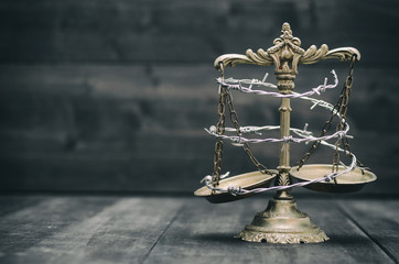 Scales of Justice and barbed wire, Compromised Rule of Law