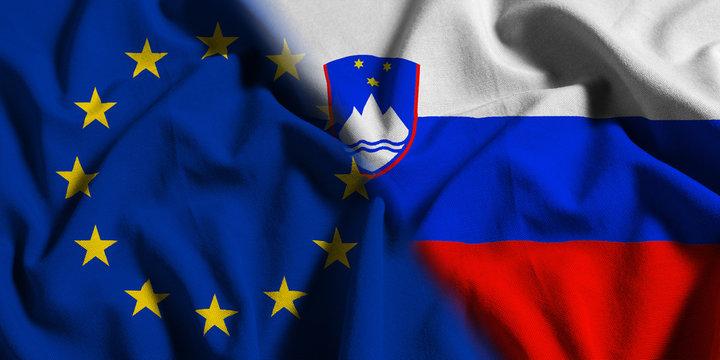 National flag of Slovenia with European Union (EU) flag on a waving cotton texture background