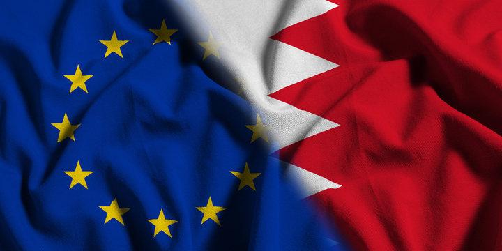 National flag of Bahrain with European Union (EU) flag on a waving cotton texture background