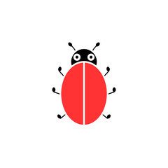 Blank ladybird glyph icon. Clipart image isolated on white background