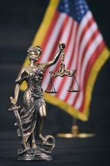 Scales of Justice, Justitia, Lady Justice in front of the American flag in the background.