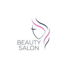 Logo template for hair salon, beauty salon, cosmetic procedures, spa center. Beauty logo for hair salon
