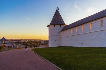 Southwest Kremlin tower at sunset in Kazan