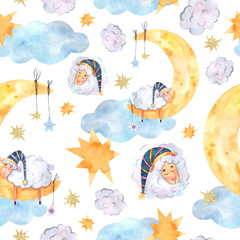 Seamless watercolor pattern with sleeping lambs in caps, multi-colored stars and a yellow moon is suitable for fabric, printing, wallpaper, baby linen and textiles, souvenirs, covers and scrapbook pap