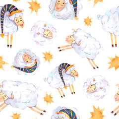 Seamless watercolor pattern with sleeping lambs and yellow stars suitable for fabric, printing, wallpaper, baby linen and textiles, souvenirs, covers and scrapbook paper.