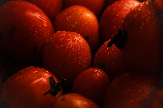 Close Up Tomato With Water Drop