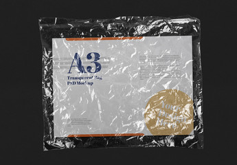 Plastic Transparent Bag with Horizontal Paper Mockup