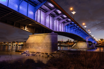 Slasko-Dabrowski Bridge At Night In Warsaw