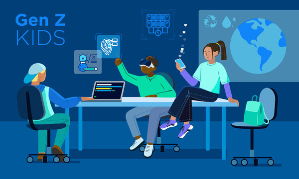 Vector illustration of Generation Z, modern children who can and know how to use digital gadgets