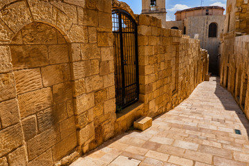 Cittadella Stone Wall and Street in Gozo, Malta