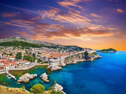 Aerial view at famous european travel destination in Croatia, Dubrovnik old town, Dalmatia, Europe. UNESCO list. Fort Bokar seen from south old walls on a sunny day in dramatic light..